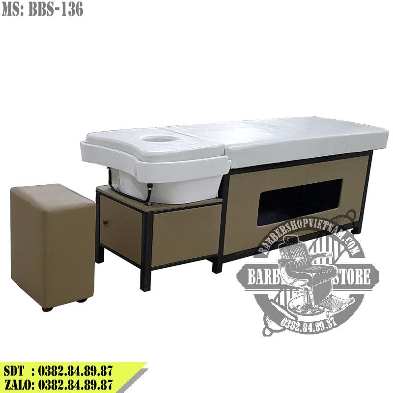 Giường gội massage 2 in 1 cao cấp BBS-136 phiên bản màu ghi